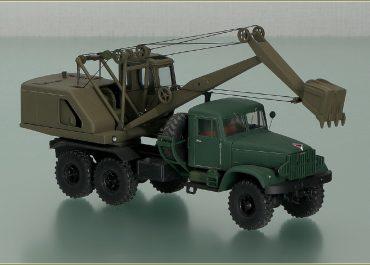 Э-305АВ тросовой механический экскаватор на шасси КрАЗ-214Б