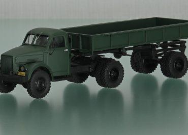 Самосвальный автопоезд боковой выгрузки,  из седельного тягача ГАЗ-63Д и полуприцепа ГАЗ-707