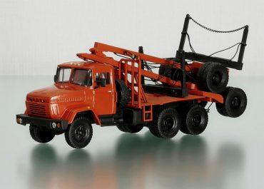 Автопоезд-лесовоз на шасси КрАЗ-6437 6х6 с механизмом самопогрузки 2-осного роспуска ГКБ-9383