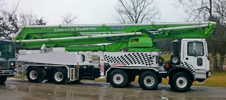 Schwing KVM 52 truck-mounted concrete pump with boom