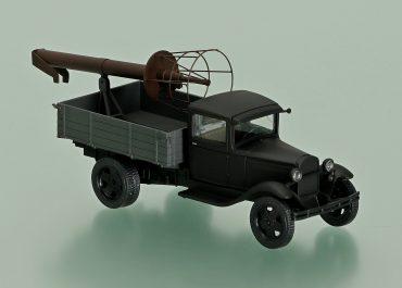 Автомобильный телескопический канатный подъемник на шасси ГАЗ-АА или ГАЗ-ММ