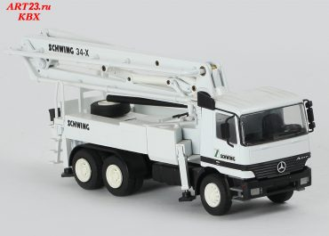 Schwing KVM 34X truck-mounted concrete pump with boom