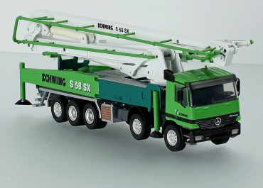 Schwing S58SX truck-mounted concrete pump with boom