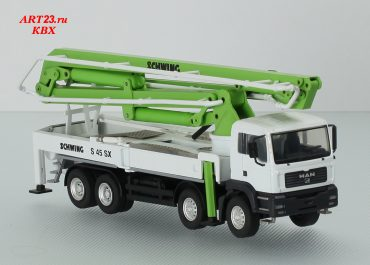 Schwing KVM S 45 SX truck-mounted concrete pump with boom