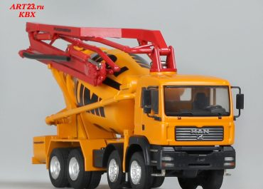 Putzmeister PUMI 26.67Q truck mixer with rotary concrete pump boom