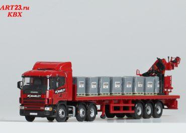 Scania 114L-380 «Marley Building Materials Ltd.» truck tractor with semi-trailer-platform and crane Atlas