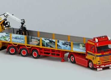 Scania 143H 500 Stremline «Goyens» truck tractor with semi-trailer and crane