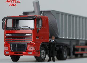 DAF FT 95XF.430 truck tractor with rear dump truck semi-trailer
