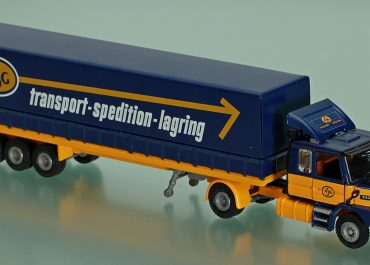 Scania T142H 40 «ASG Transport Spedition» truck tractor with 3-Axle semi-trailer-awning